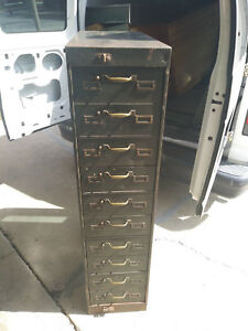 Vintage Steampunk Industrial 10 Drawer Steel Card File Cabinet W brass Hardware