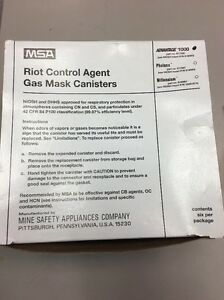 Msa 817590 Advantage 1000 Gas Mask Riot Control Agent Gas Canisters box Of 6