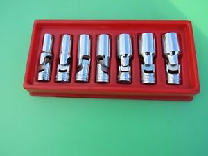 Snap on 3 8 Deep Swivel Flex 6 Pt Socket Set 7 Pc 3 8 3 4 207fsu W Tray
