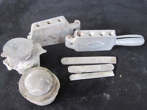 2 Vintage Sinker Fishing Weight Molds Plus 13 Pounds Of LeadSolder-FREE SHIP