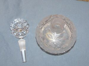 Large Vtg Hand Made Hand Cut Hungarian Crystal Perfume Bottle W Dauber 27