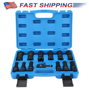 1 2 Drive Impact Socket Hex Bits 13pc Sae Metric Set Long Air Allen Driver