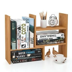 Desktop Bookshelf Desk Mini Corner Organizer Wood Adjustable Diy Shelf Office