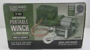 Chicago 12 Volt Radio Controlled Portable Winch With Roller Fairlead