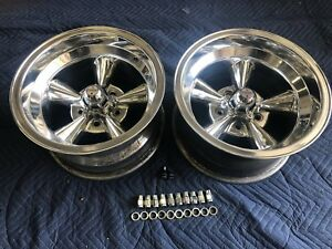 Vintage Pair 2 Real 15 X 8 5 American Torque Thrust Polished Chevy 5 On 4 3 4
