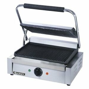 Adcraft Stainless Steel Grooved Plate Panini Grill Sg 811e