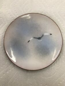 A Vintage Enamel On Copper Seagull Dish Signed