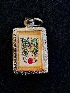 Real Kruba Krissana Dream Butterfly Amulet Be2560 For Love Luck Wealth Green B