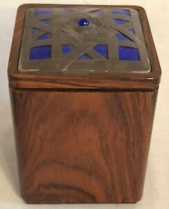 Ottaviani Italian Rosewood Lidded Humidor Or Box With Sterling Enamel Lid