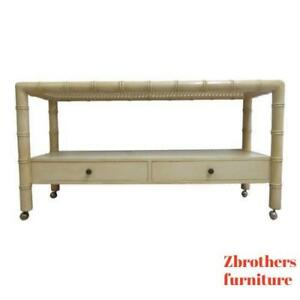 Vintage French Regency Faux Bamboo Sofa Hall Table Console Server Sideboard