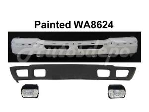 Painted Front Bumper Wa8624 Face Bar Valance Fog Light For Silverado 2003 2004