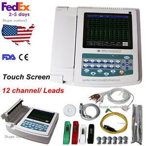 Touch Screen Ecg Machine 12 Channel lead Digital Ekg pc Sync Software Contec Us