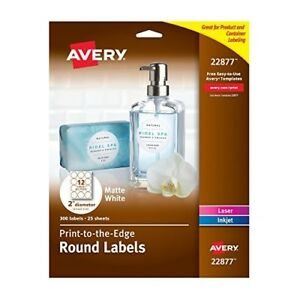 Avery Print To The Edge Round Labels 2 Diameter Matte White