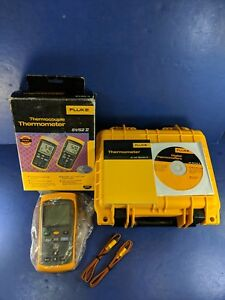 New Fluke 52 Ii Thermocouple Thermometer Hard Case Box More