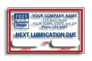 500 Automotive next Lubrication Due Static Cling Labels Nebs Deluxe 1690b