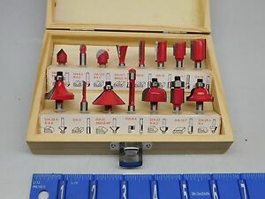 Carbide Tipped Router Bit Set For Wood Cutting 15 Pc Set