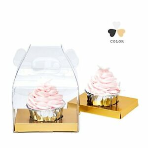 Yotruth Clear Cupcake Boxes With Glossy Gold Insert Christmas Gift Boxes 20 Pack