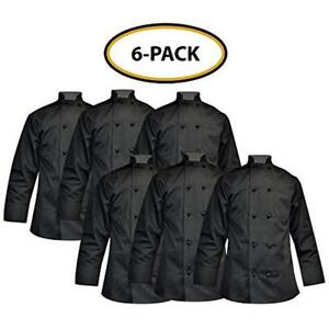 Chef Apparel Buttons Knot Coat easy care Twill small 6 Pack Black
