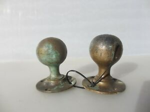 Antique Bronze Door Knobs Handles Vintage Plates Old Edwardian Brass Odd