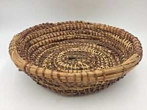 Primitive Coiled Rye Grass Basket Round Hand Woven Antique Rustic Gathering
