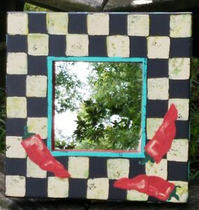 Vintage Mirror Interior Decoration Original Art Signed Mirror With Checkerboard