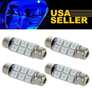 4pcs Blue 6 5050 Smd Festoon 43mm 44mm Led Interior Dome Map Lights 578