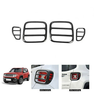 Black Strong Iron Tail Light Covers Rear Taillight Guard For Jeep Renegade 2015