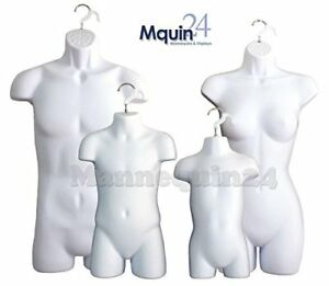White Female Dress Male Child And Toddler Set 4 Body Mannequin Forms