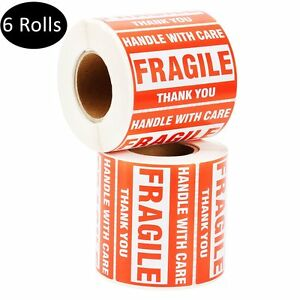 6 Rolls 2x3 500 roll Handle With Care Thank You Fragile Stickers Mailing Labels