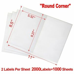 Premium Half Sheet 2000 Shipping Postage Labels 8 5x5 5 Blank For Usps Paypal