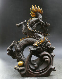 14 2 Antique Old Chinese Bronze Animal Auspicious Dragon Beast Paly Ball Statue