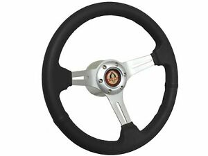 1965 1967 Ford Mustang Cobra S6 Black Leather Steering Wheel Brushed Kit
