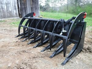 Skid Steer Tractor Loader Attachment 78 Root Rake Clam Grapple Ship 199