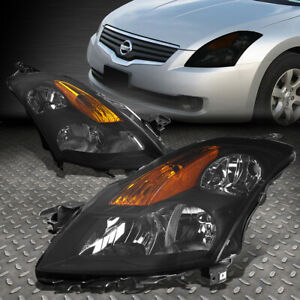 For 07 09 Nissan Altima Sedan Smoked Housing Amber Corner Headlight Head Lamps