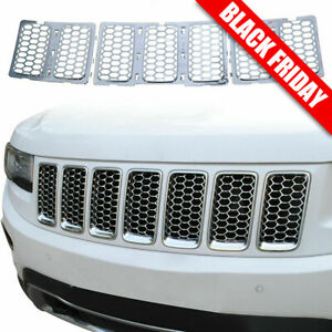 Chrome Front Grill Mesh Grille Cover Inserts For 2014 Jeep Grand Cherokee 7pc H