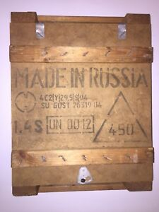 Vintage Russian Ammunition Military Wooden Crate 7.62 Ammo Box Case Wood