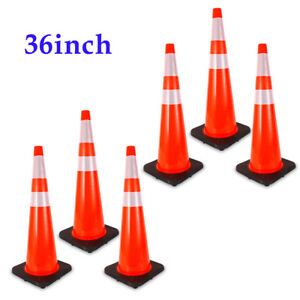 6x 36 Traffic Cones Overlap Parking Construction Emergency Road Safety Cone New
