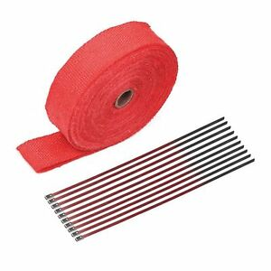2 50ft Red Roll Fiberglass Exhaust Header Manifold Pipe Heat Wrap Tape Ties Kit