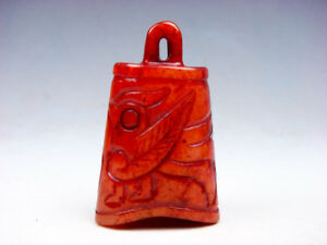 Vintage Nephrite Jade Carved Ancient Bell Shaped Pendant Sculpture 05111812