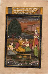 Pr Of Indian Miniatures Court Scenes Gouache And Gilt