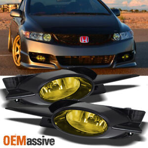 Fits 09 11 Civic 2dr Coupe Jdm Yellow Bumper Driving Fog Lights W bulbs Switch