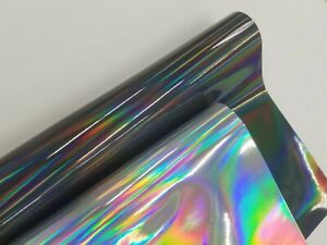 Gloss Silver Black Holographic Vinyl Vynil Car Wrap Film Sticker Decal Sheet