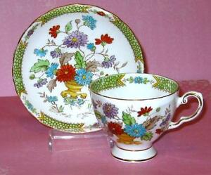 Tuscan Tea Cup And Saucer Colorful Mums Lime Hand Painted Teacup C9410