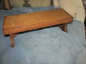 Antique Primitive Chunky Thick Wooden Footstool Or Bench