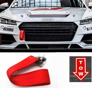 Red Bumper Crash Beam Tow Hook Strap W Red Tow Arrow Sticker For Bmw