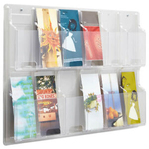 Safco Reveal 5604cl Clear 12 Literature Pamphlet Wall Display Holder W Hardware