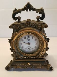 Antique Waterbury Small Brass Clock 1891 4 5 Tall