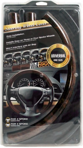 5 Piece Steering Wheel Cover Wood Grain Oak Snap On For Ford Lincoln Mercury