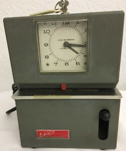 Vintage Lathem Manual Punch Time Clock Model 2121 with Key Free Shipping