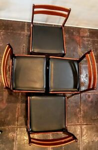 Set Of 4 Mid Century Danish Modern Dining Chairs Marked Made In Denmark